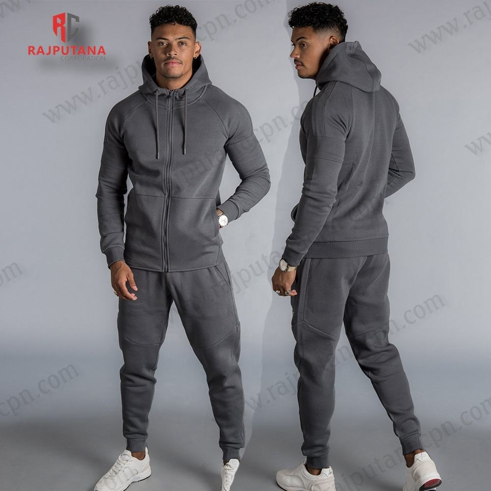 Sublimated tracksuits Men Fleece Black wholesale plain cotton tracksuit fitted jogger pants
