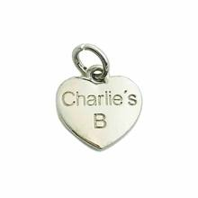 Personalized heart shape  branded charms custom metal jewelry tags for pendant chain necklace