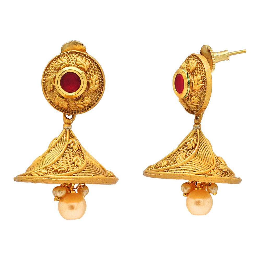 Red Color Glass Stone & Imitation Pearl Kempu Earrings Jewellery