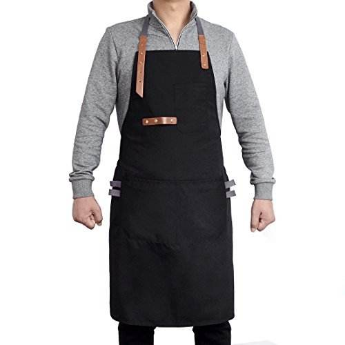 Denim Bib Schort W/Lederen Band Barista Baker Barman Bbq Chef Uniformen