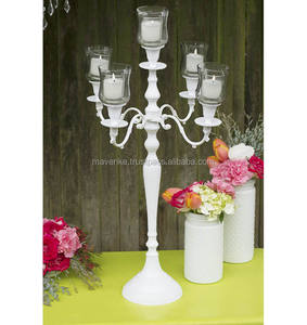 White Candelabra with glass cups