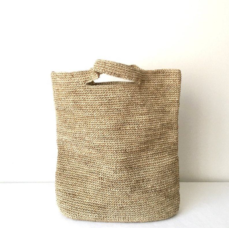 Large sized raffia beach bag, handmade in Vietnam