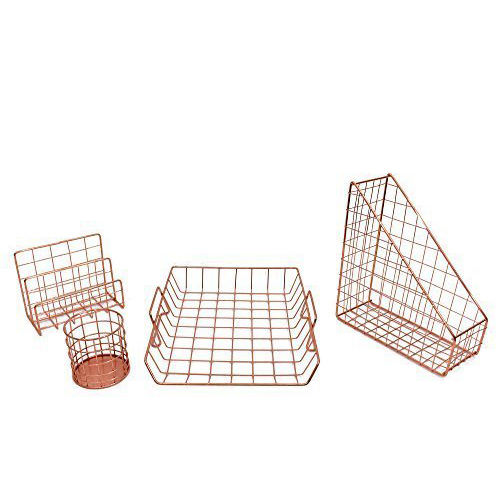 Copper Plated Metal Wire Metal Letter Rack Pen Holder File Holder Desk Organizer