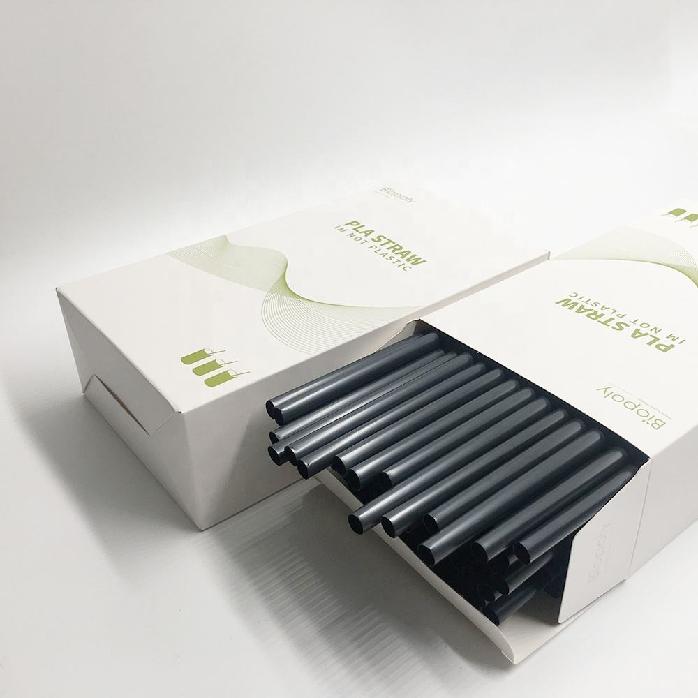 Biopoly 100% Biodegradable Straight 8*210mm PLA bioplastic milkshake straws in box