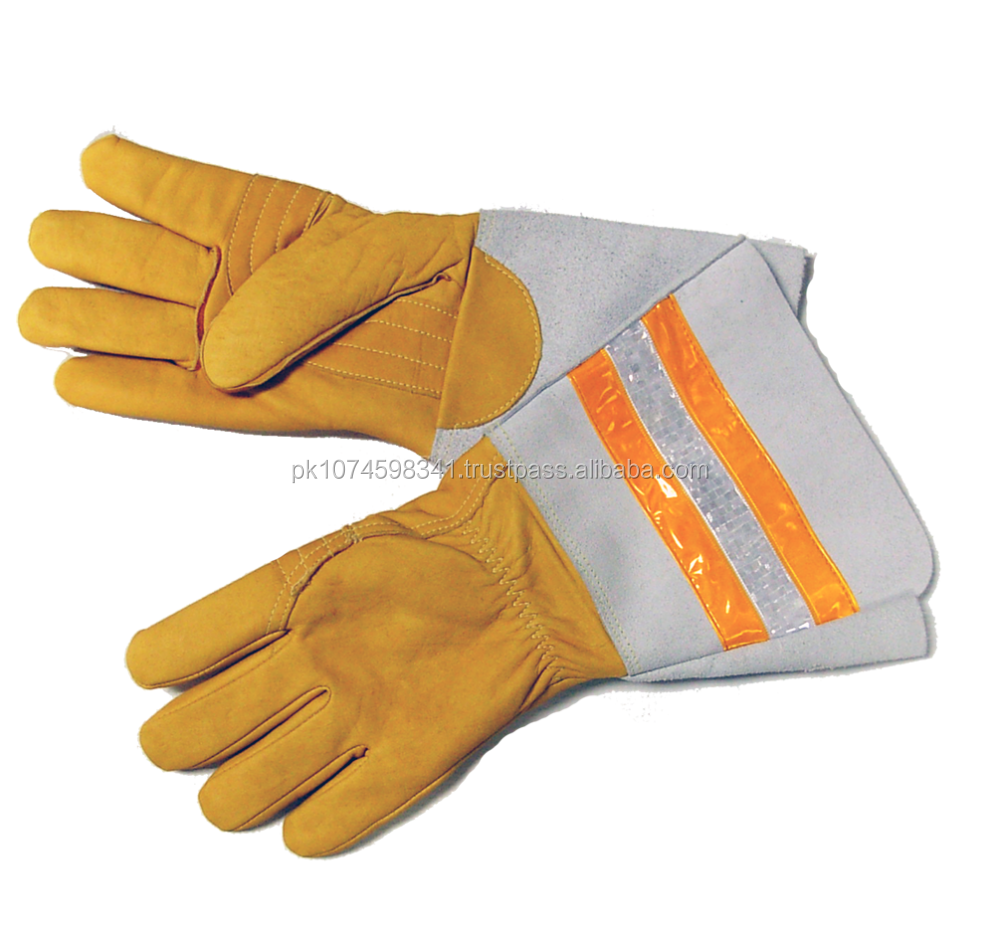 Lineman Leather Glove with Reflective tape /Reflective Gauntlet Cuff Leather Gloves/ Electrical Safety Leather Gloves