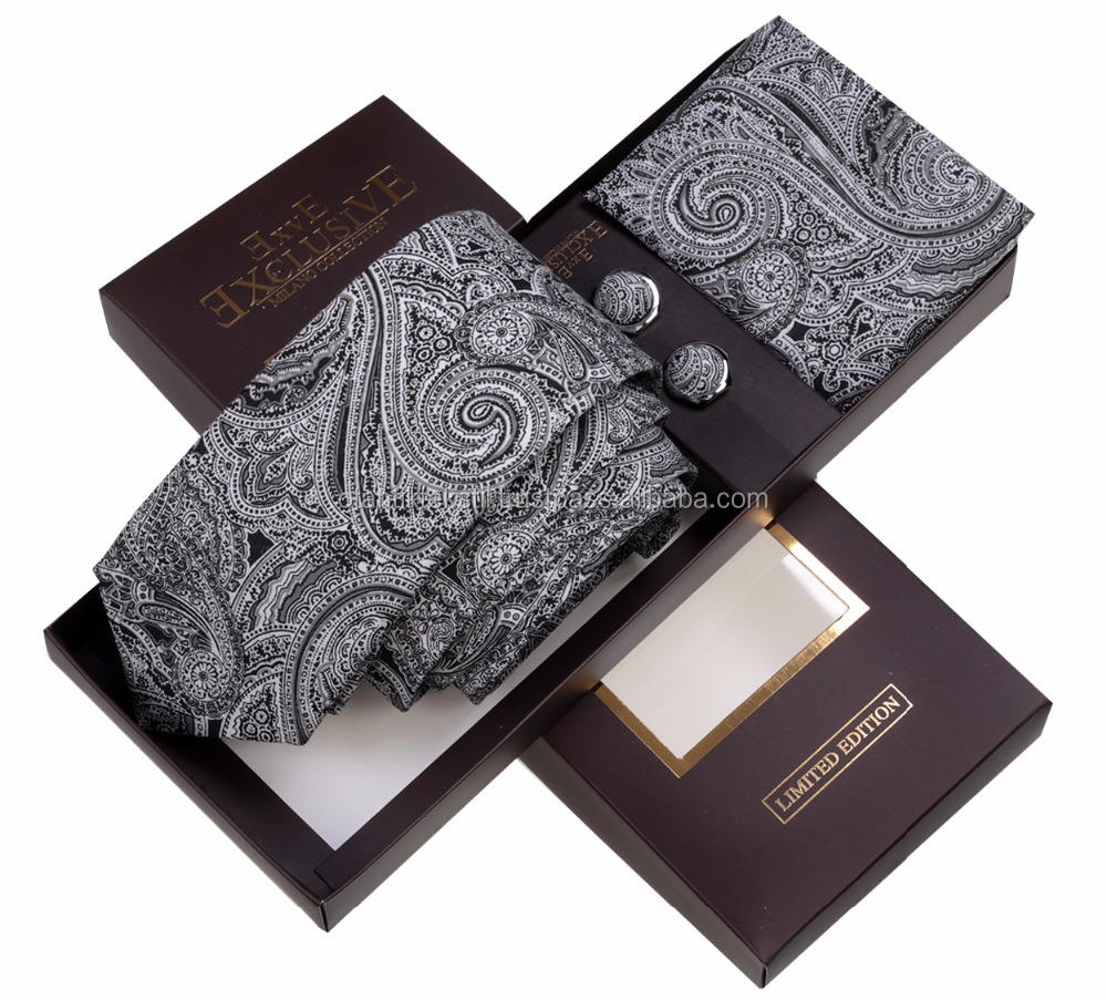 Black Paisley Tie box, Necktie with pocket squareAnd cufflink set neck tie, corbata, gravate, krawatte, cravatta, fashion tie