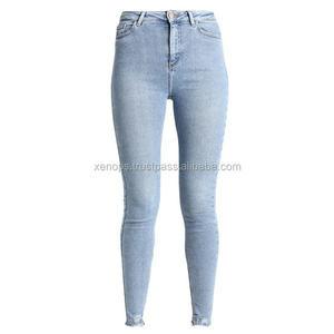 jeans mujer modelos | Pantalones vaqueros ajustados transpirables para mujer, pantalón vaquero de tiro alto, color claro, hecho a medida