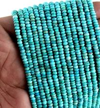 "13"" Long  1 Strand Natural Arizona Turquoise Rondelle Faceted Beads"