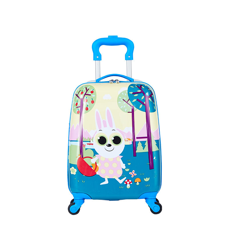 2020 hot selling 16 inch 4 wheel spinner luggage kids travel trolley bag school bag plastic suitcase storage