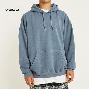 MGOO OEM Oversized Plain Overdyed Blue Fleece Hoodie Front Pocket Hoodies Men