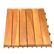 interlocking outdoor deck  wood tile garden solid acacia wood flooring with plastic base