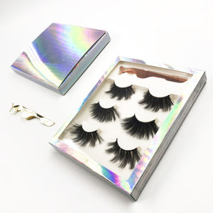 FDshine holographic lash packaging with tweezers 3 pairs eyelashes 30mm faux mink
