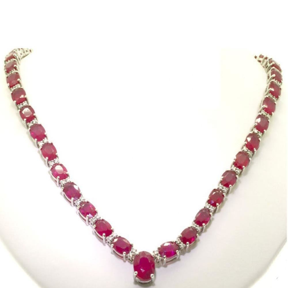 Real Diamonds Necklace with Natural Ruby 14K Gold Diamond Necklaces