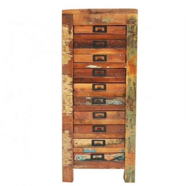 Reclaimed Rustic Solid Wood Natural Grains 10 Drawer Paper Filling Drawer Chest