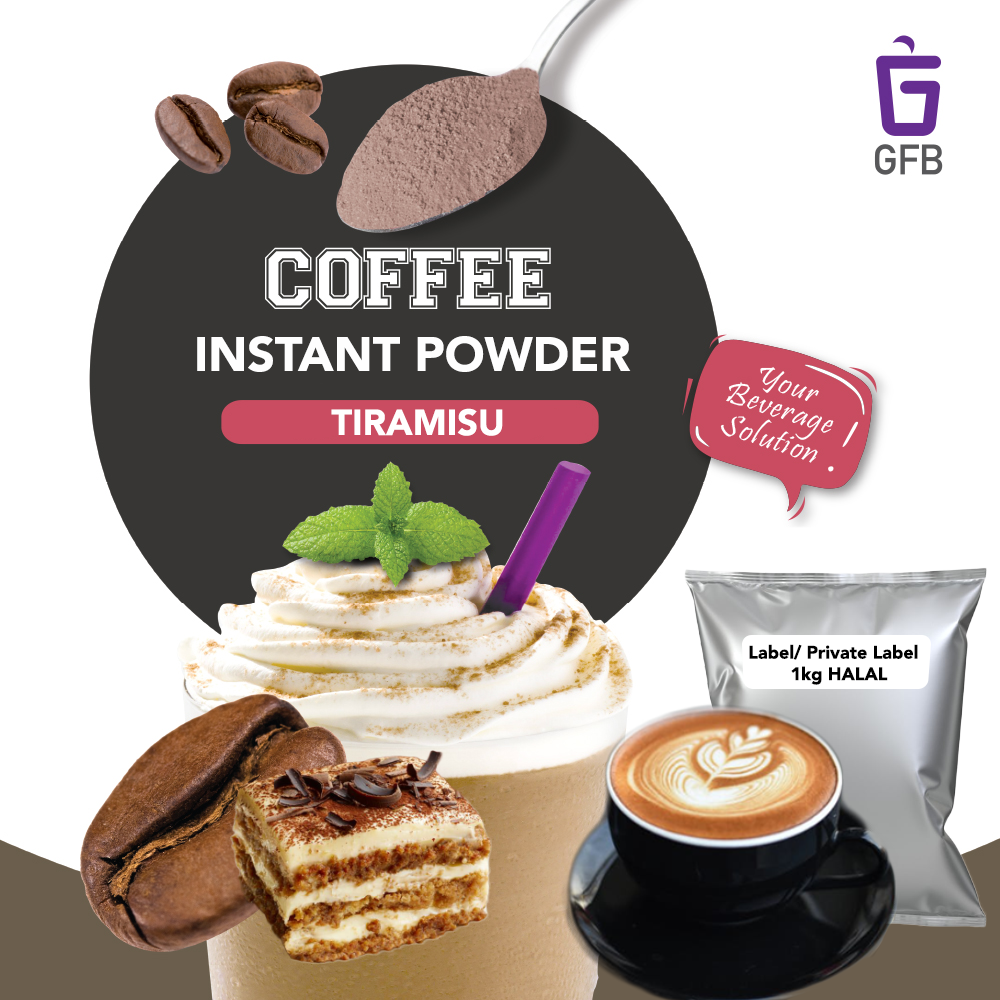 Halal 1KG Instant Coffee Tiramisu 3 in 1 Powder