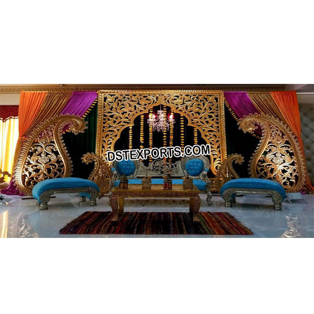 Graceful Gujrati Wedding Stage New Designed Wedding Stages for Sale Stunning Stage Decor Props Manufacturer