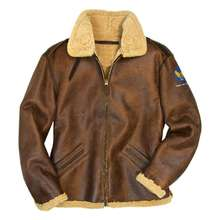 B-3 Authentic Sheepskin Jacket-Long shear ling bomber flight pilot leather jacket for Men Winter leather jacket Fur lining