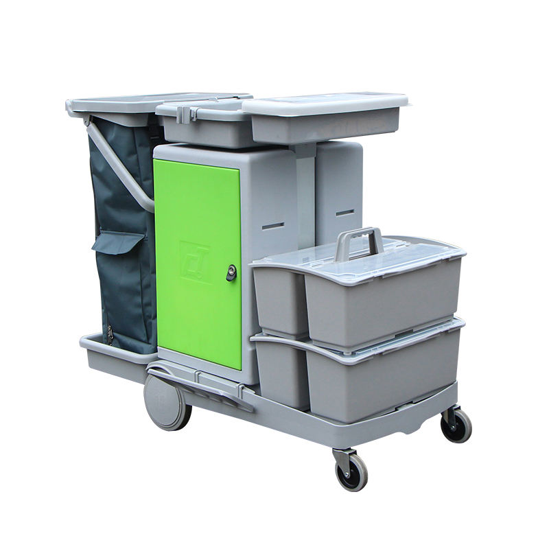 High Quality Plastic 2 Layers Tray Bucket Cart Hotel Housekeeping Cleaning Trolley Service Cart