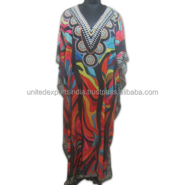 Digital Print Silk Plus Size Kaftan