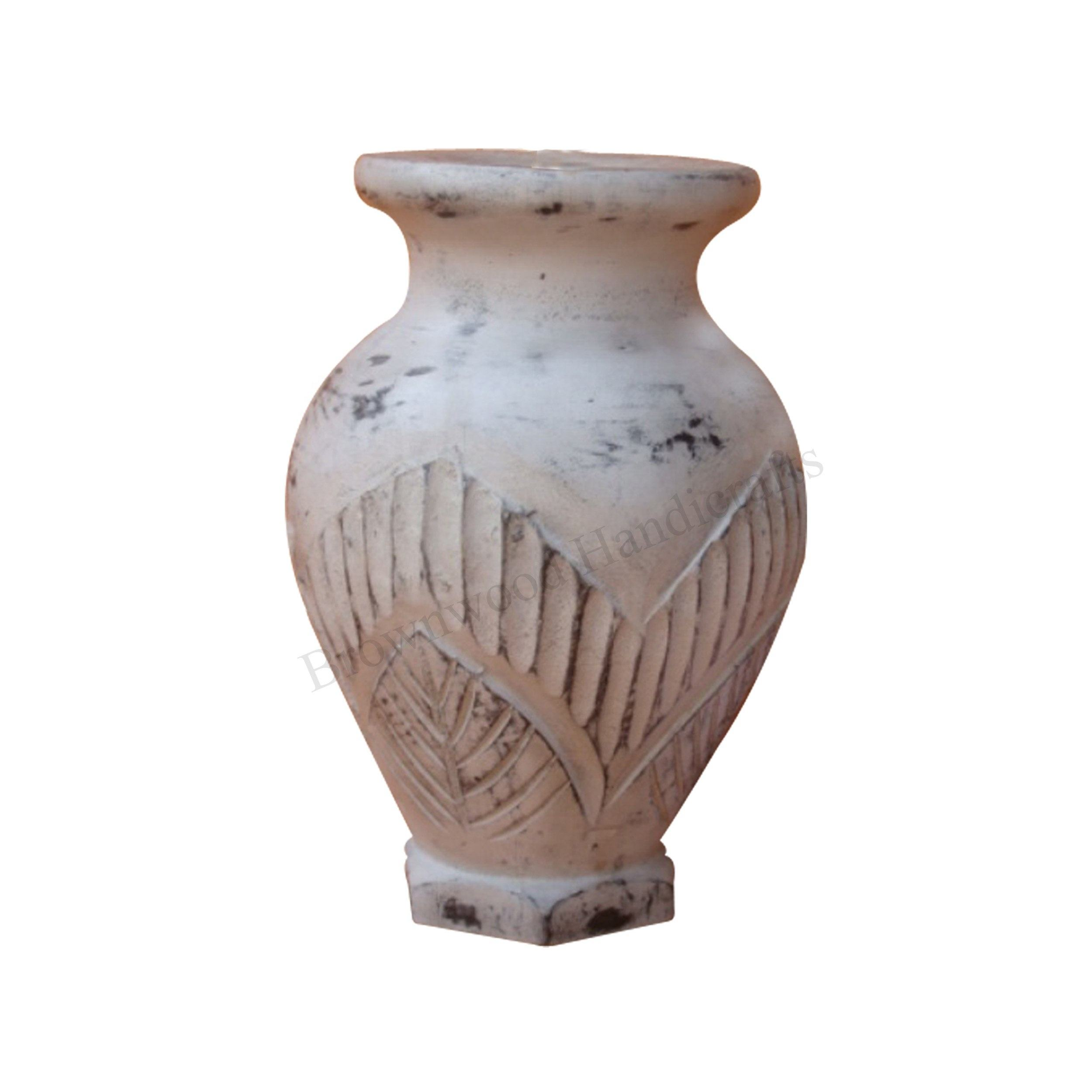 Wooden Handmade Carving Vase Latest Designs of Mango Wood Vase