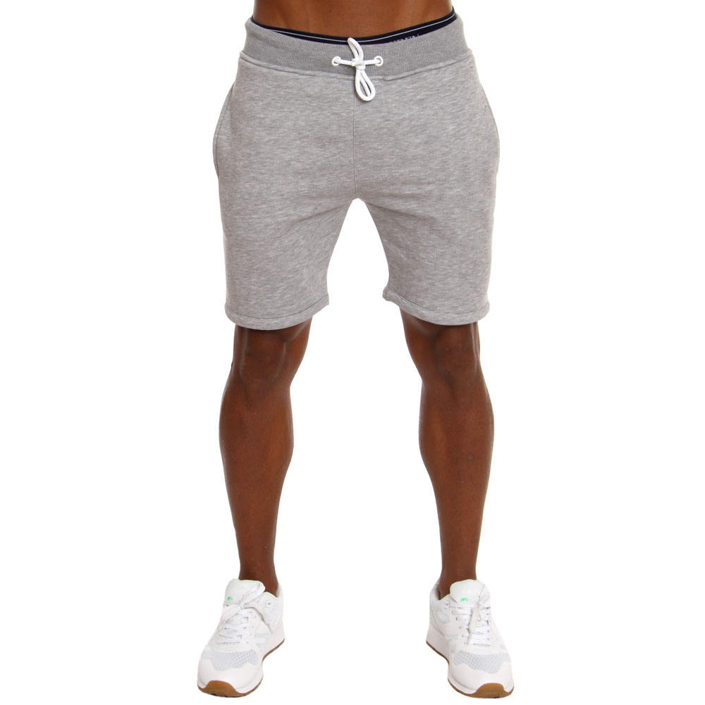 Mens cotton raw edges fleece gym shorts