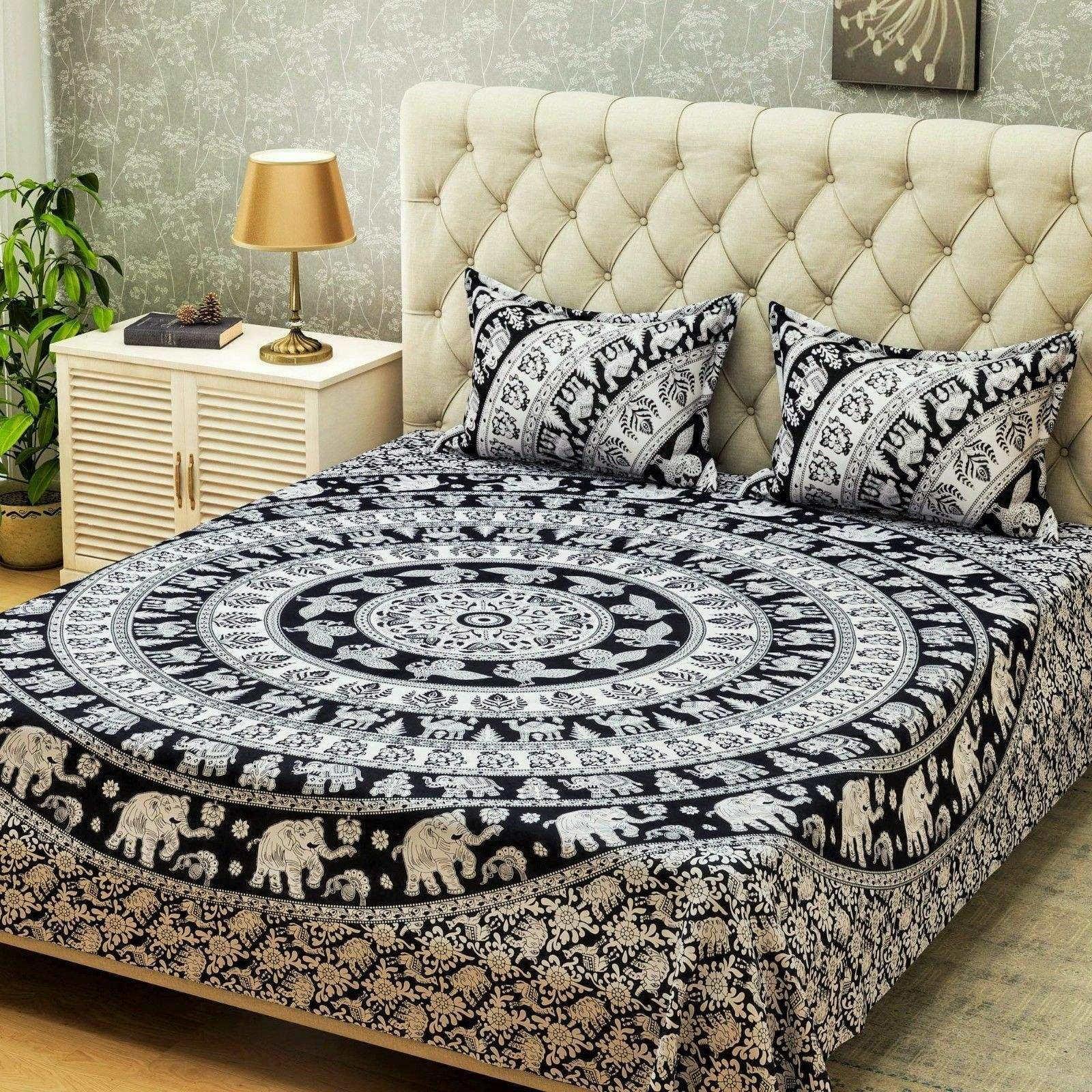 Double Bed Cover White And Black Cotton Elephant Printed Bed Sheet With Pillow Cover