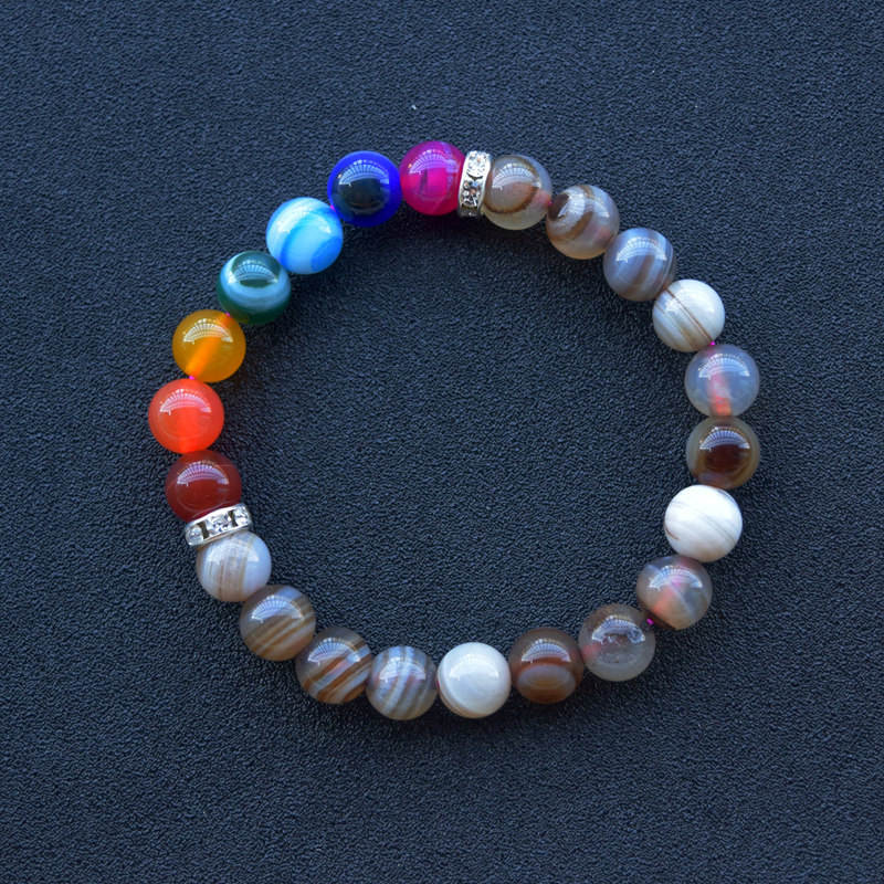 8mm New 7 Chakra agate Bracelet rike Healing Power Crystal Stretch Beaded Bracelet gemstone crystal craft