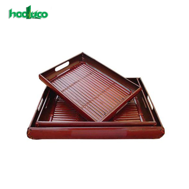 2018 High Quality Wholesale Cheap Price Bamboo Style Lacquered Square Serving Tray From Vietnam