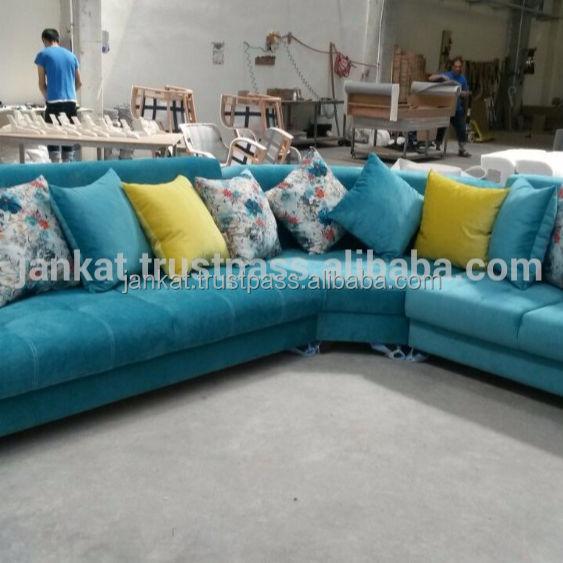 L Shape Fabric Leather Sofa