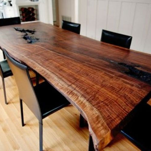 Industrial Live Edge Modern Acacia Slab Dining Table