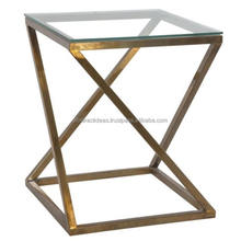 High End Modern Gold Metal Side, Coffee Table / Lamp Stand with Glass Top - Accent Home Furniture for Living / Bedroom