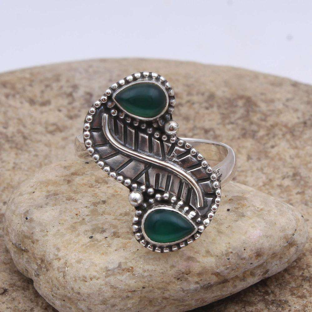 Green onyx gemstone ring 925 sterling silver ring wholesale silver jewellery exporter supplier