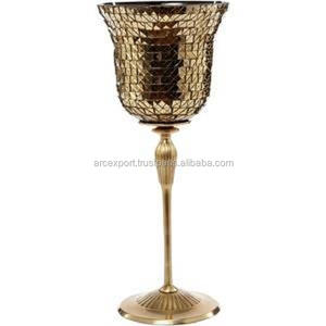 gold plated mosaic glass shiny metal candle holder