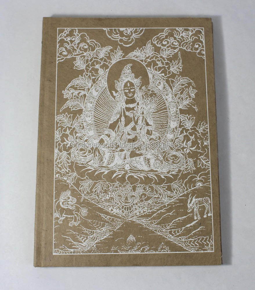Natural color hard cover recycled acid free lokta fiber paper buddha printed notebook