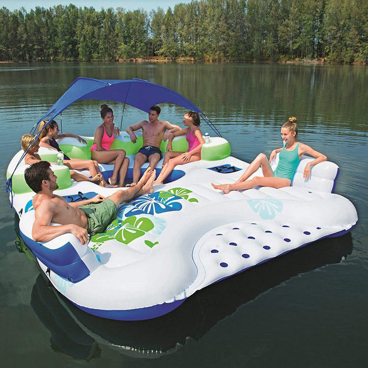 Oem custom pvc 6 7 10 person tropical tahiti inflatable water floating island