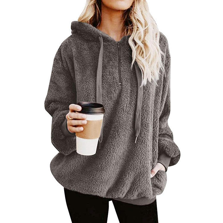 Women's Winter Sweatshirt Fleece Front Zipper Wool Hooded Sweater Sweatshirts With Pocket Plus Size