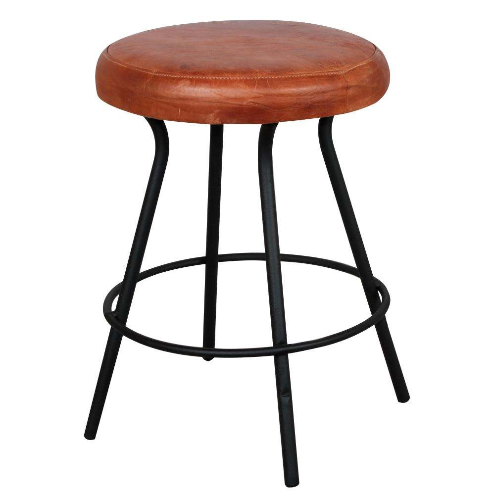 New Design Leather & Iron Industrial Bar Stool