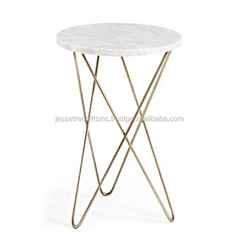 Metal Accent Coffee Table With Round Marble Top & Gold Color Powder Coating For Living Room