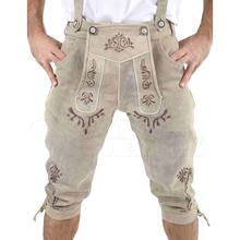 Trachten Goat Split Suede Leather High Quality Lederhosen for Oktoberfest Traditional Kniebund Hosen German Clothes