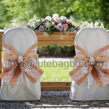 Eco Friendly Natural Burlap Chair Bow Sashes with lace Vintage for wedding