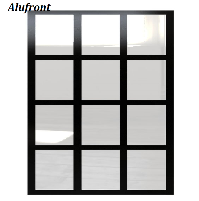Black frame factory windowpane grid pattern industrial style fixed panel room divider partition panels.