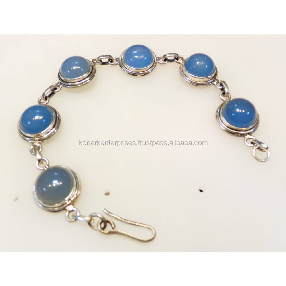natural calcidoneya gemstone round shape 11 mm 925 sterling silver hondmade bracelet blue