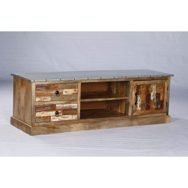 Industrial & Vintage Indian solid Reclaimed Wood Made Long TV Cabinet from Authentic Supplier