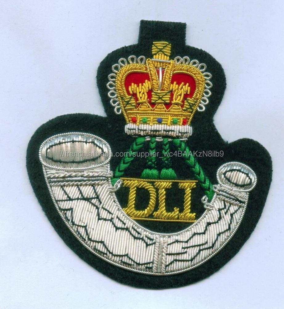 Durham light infantry badge blazer/L'IDD bullion fil Badge/Militaire brodé tissu badge