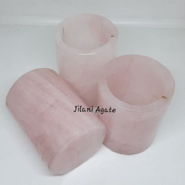 Rose Quartz Glass Hand Carved Natural GemStone Agate Big Glass / By From Jilani Agate