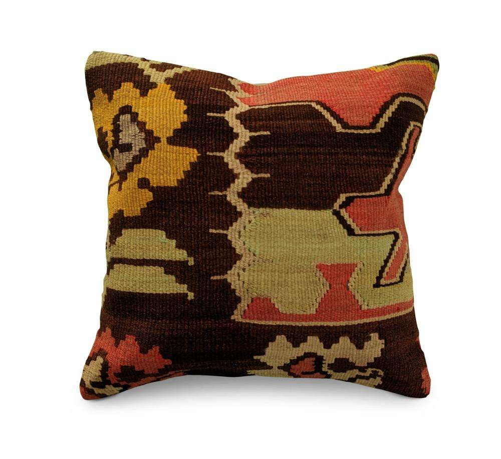 Vintage handmade moroccan turkish kilim floor pillow footstool pouffe cushion wholesaler O-1169