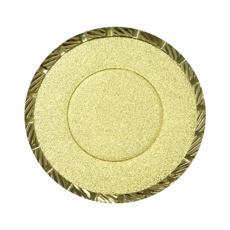 Diamond Faceting Technology Round Shape Custom Gold Plate Bronze Coin Blank Coin