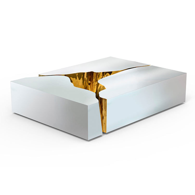 Luxury design white stainless steel center coffee table