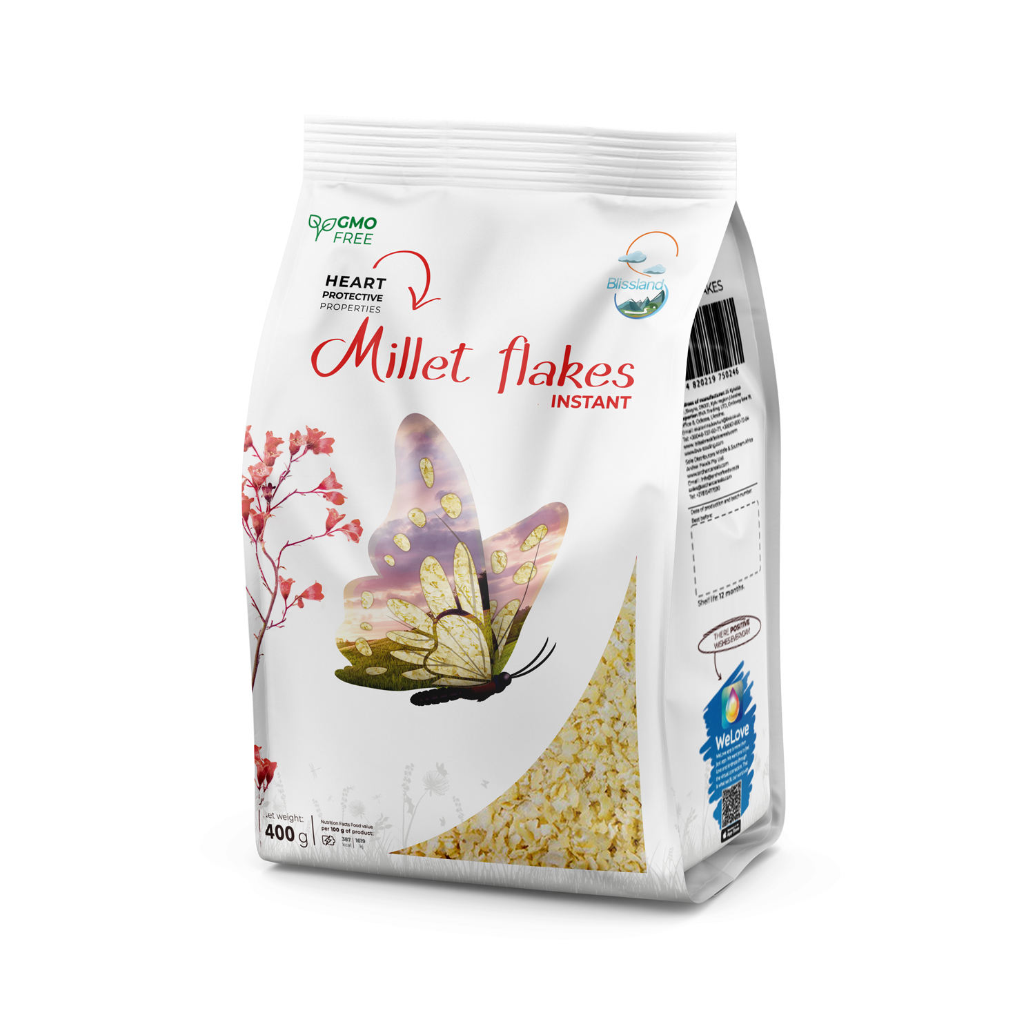 Millet flakes of instant cooking