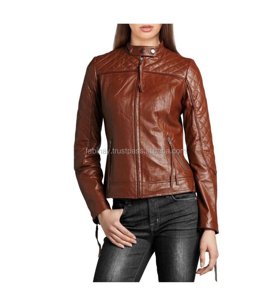 brand show leather jacket for ladies